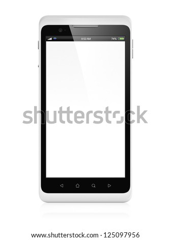 3D illustration of modern mobile phones with blank screen isolated on white background