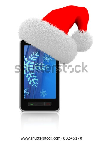 3d illustration of modern mobile phonewith christmas hat - stock photo