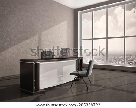 3D illustration of modern office desk - stock photo