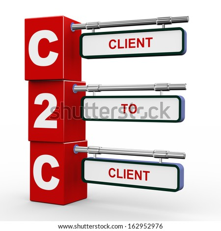 3d illustration of modern roadsign cubes signpost of c2c client to client - stock photo