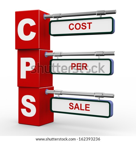 3d illustration of modern roadsign cubes signpost of cps cost per sale - stock photo