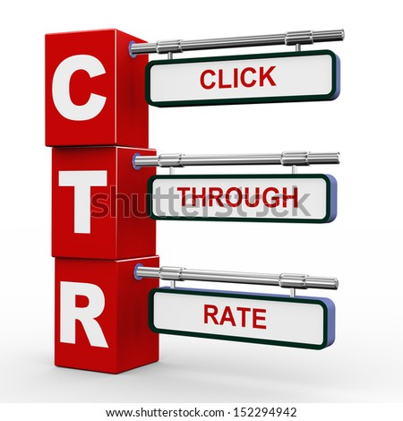 3d illustration of modern roadsign cubes signpost of ctr click through rate - stock photo
