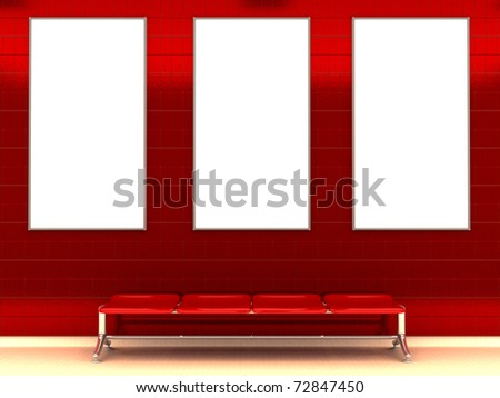 3d illustration of modern subway station with bench and three ad signs - stock photo