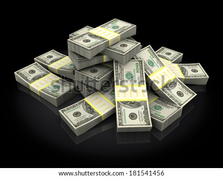 3d illustration of money heap over black background - stock photo