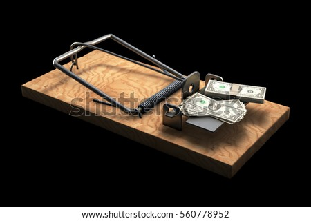 3D illustration of Mousetrap with money isolated on black