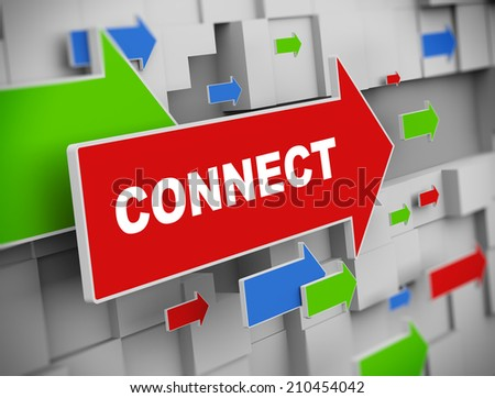 3d illustration of moving arrow of connect on abstract wall background - stock photo