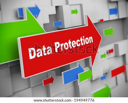 3d illustration of moving arrow of data protection on abstract wall background. - stock photo