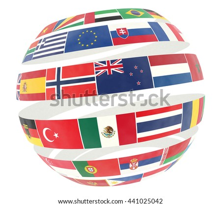 3D illustration of National flags twisted as spiral globe - isolated on white - stock photo
