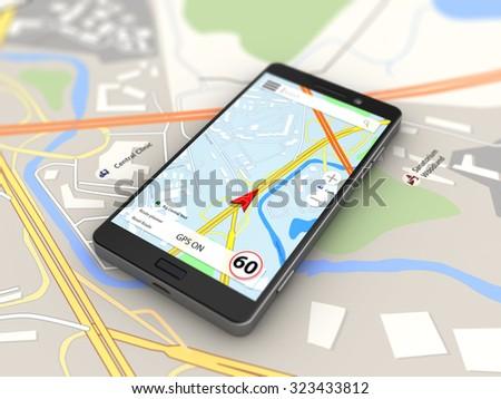 3d illustration of navigation on smartphone - stock photo