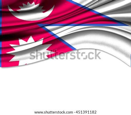 3D illustration of Nepal fabric waving of flag. - stock photo