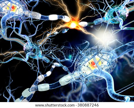 3d illustration of nerve cells, concept for Neurologic Diseases, tumors and brain surgery.