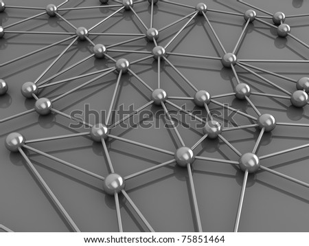 3d illustration of network or molecular structure - stock photo