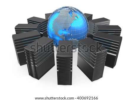 3D illustration of network workstation servers connected with world. - stock photo