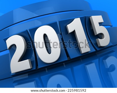 3d illustration of 2015 new year sign over blue background
