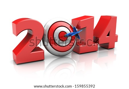 3d illustration of new year sign with darts target, success in new year concept
