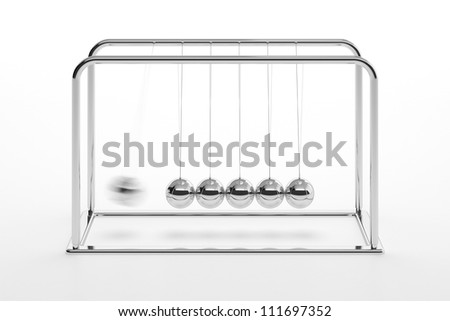 3D illustration of Newton's cradle isolated on white