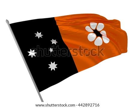 3d illustration of Northern territory flag waving in the wind / Flags of Australia - stock photo