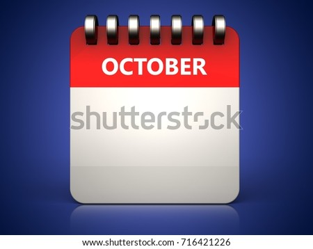 3d illustration of  october calendar over blue background