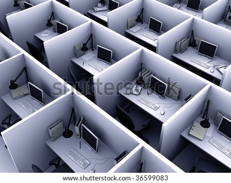 3D illustration of office for routine work - stock photo