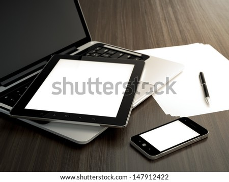 3D illustration of office table with electronic devices and blank sheet of paper - stock photo