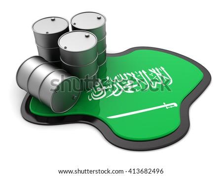 3d illustration of oil barrels and Saudi Arabia flag - stock photo