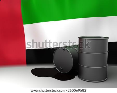 3d illustration of oil barrels and UAE flag - stock photo