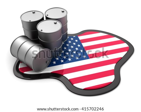 3d illustration of oil barrels and usa flag