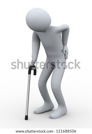 3d illustration of old person walking with the hlep of stick. 3d rendering of people - human character.