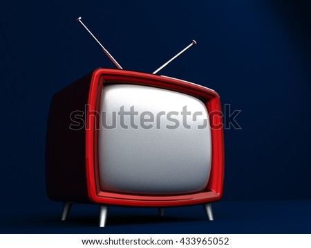 3D Illustration of old style red TV on dark background - stock photo