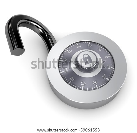 3d illustration of opened combination lock over white background - stock photo