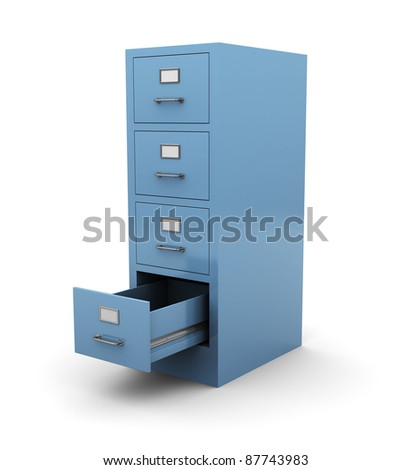 3d illustration of opened drawer over white background - stock photo
