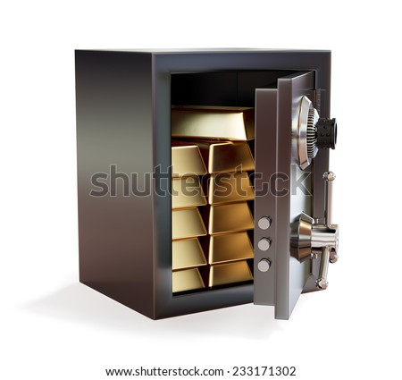 3d illustration of opened metal safe with gold bars isolated on white background. Wealth concept