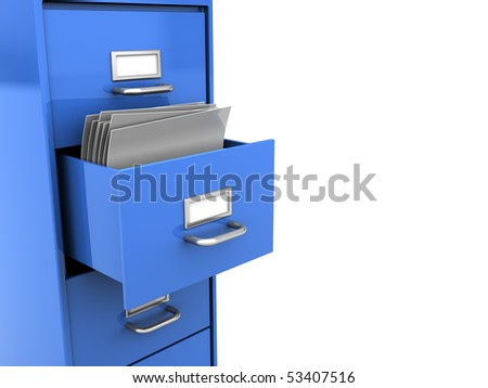 3d illustration of opened office shelf with documents inside - stock photo