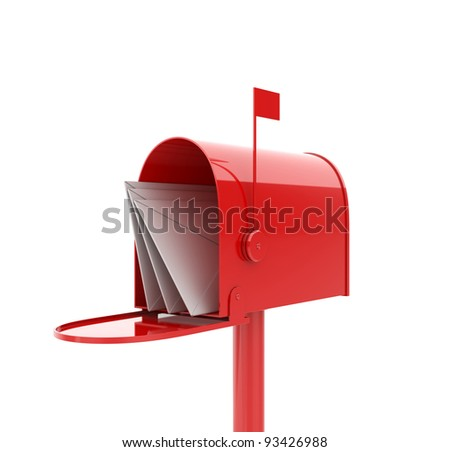 3d illustration of opened red mailbox with letters - stock photo