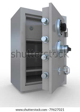 3d illustration of opened steel bank safe over white background - stock photo