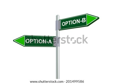 3d illustration of option-A and option-B road sign.  - stock photo