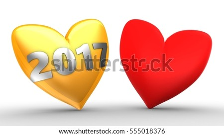 3d illustration of orange heart over white  background with second red and 2017 year sign