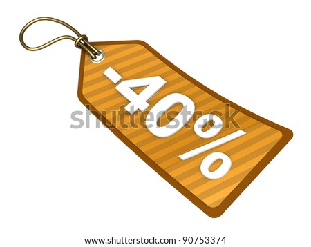 3d illustration of orange sale tag with forty percent discount label