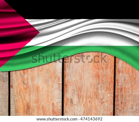 3D illustration of Palestine fabric waving of flag.