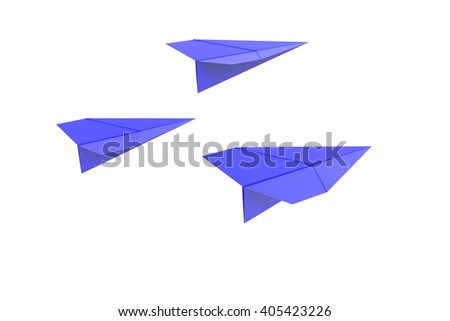 3D illustration of paper airplanes