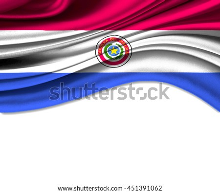3D illustration of Paraguay fabric waving of flag. - stock photo