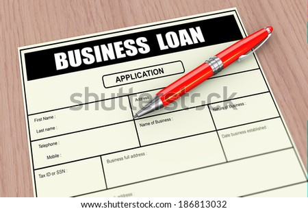3d illustration of pen and business loan application.