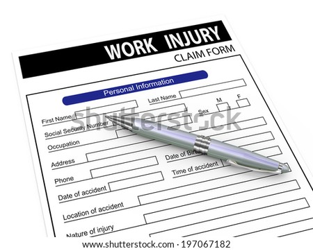 3d illustration of pen over work injury compensation claim form. - stock photo