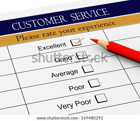 3d illustration of pencil on service evaluation form with tick placed in excellent checkbox. - stock photo