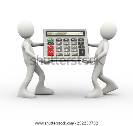 3d illustration of people carrying large calculator. 3d human person character and white people - stock photo