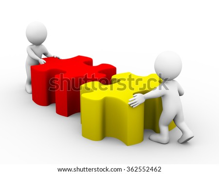 3d illustration of people pushing puzzle pieces. Concept of team work and rendering of human people man character - stock photo