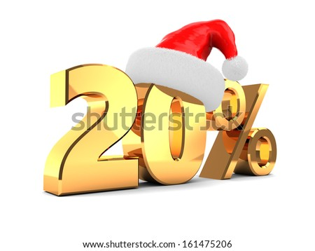 3d illustration of 20 percent christmas discount - stock photo