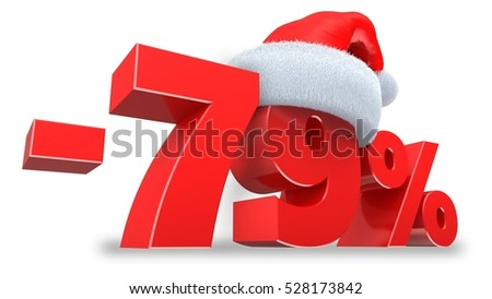 3d illustration of 79 percent discount over white background