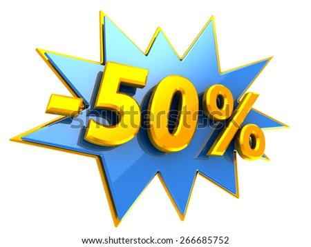 3d illustration of 50 percent disount sign - stock photo