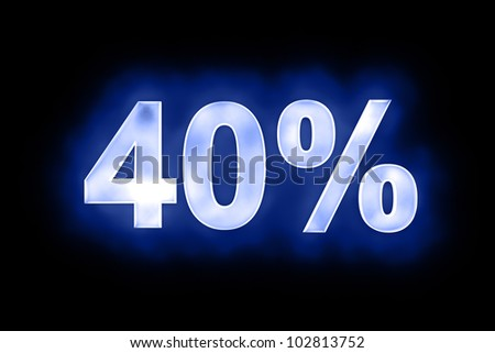 3d illustration of 40 percent in glowing mottled white numerals on a blue background with a black surround - stock photo